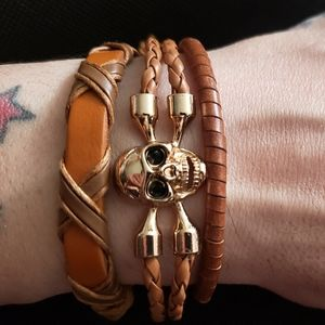 Other - 3 piece Tan leather skull adjustable Bracelet set